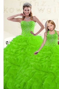 Lace Up Sweetheart Beading and Ruffles Quinceanera Gown Organza Sleeveless