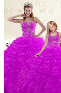 Dazzling Sweetheart Sleeveless Lace Up Sweet 16 Dresses Purple Organza