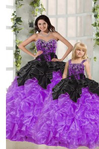 Black And Purple Sweet 16 Dress Military Ball and Sweet 16 and Quinceanera and For with Beading and Ruffles Sweetheart Sleeveless Lace Up