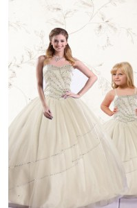 High Quality Sweetheart Sleeveless Quince Ball Gowns Floor Length Beading Champagne Tulle