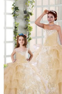 Exquisite Organza Sleeveless Floor Length Quinceanera Gowns and Beading and Ruffled Layers and Ruching