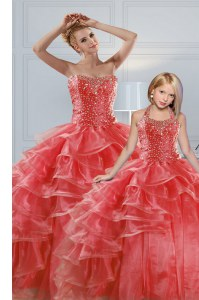 Cheap Sleeveless Organza Floor Length Lace Up Sweet 16 Dresses in Coral Red with Beading and Ruffled Layers