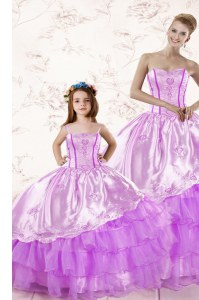 Suitable Lilac Lace Up Sweetheart Embroidery and Ruffled Layers Sweet 16 Quinceanera Dress Organza Sleeveless