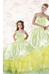 New Arrival Sweetheart Sleeveless Quinceanera Gowns Floor Length Embroidery and Ruffled Layers Light Yellow Organza
