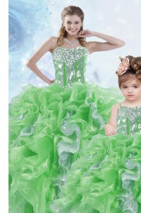 Delicate Floor Length Lace Up Sweet 16 Dresses Green for Military Ball and Sweet 16 and Quinceanera with Beading and Ruffles and Sequins