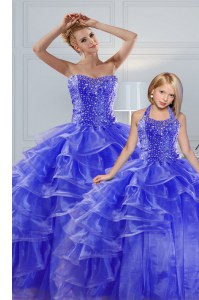 Ruffled Blue Sleeveless Organza Lace Up Sweet 16 Quinceanera Dress for Military Ball and Sweet 16 and Quinceanera
