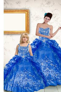 Beauteous Royal Blue Sleeveless Beading and Embroidery and Pick Ups Floor Length Quince Ball Gowns