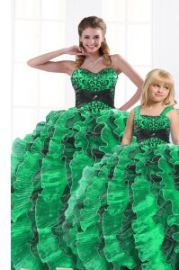 Exceptional Sleeveless Lace Up Floor Length Beading and Appliques and Ruffles 15 Quinceanera Dress