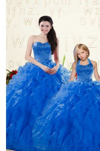 Sleeveless Organza Floor Length Lace Up Quinceanera Dress in Royal Blue with Beading and Ruffles