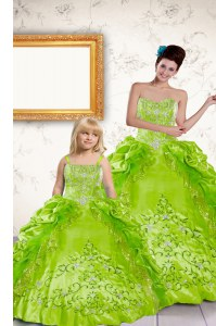 Yellow Green Halter Top Lace Up Beading and Embroidery and Pick Ups Quinceanera Gown Sleeveless