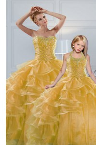 Gold Ball Gowns Organza Sweetheart Sleeveless Beading and Ruffled Layers Floor Length Lace Up Sweet 16 Quinceanera Dress