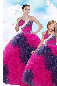 Sweet Taffeta Sweetheart Sleeveless Lace Up Sequins and Pick Ups Quince Ball Gowns in Multi-color