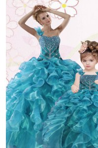 One Shoulder Sleeveless Organza Floor Length Lace Up Quince Ball Gowns in Teal with Beading and Ruffles