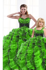 Fabulous Sleeveless Floor Length Beading and Appliques and Ruffles Lace Up 15 Quinceanera Dress with