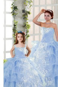 Suitable Strapless Sleeveless Vestidos de Quinceanera Floor Length Embroidery and Ruffled Layers Blue Organza