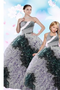 Vintage Multi-color Ball Gowns Sequins and Pick Ups Ball Gown Prom Dress Lace Up Taffeta Sleeveless Floor Length