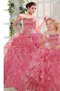 Amazing Rose Pink Quince Ball Gowns Military Ball and Sweet 16 and Quinceanera and For with Beading and Ruffles Strapless Sleeveless Lace Up