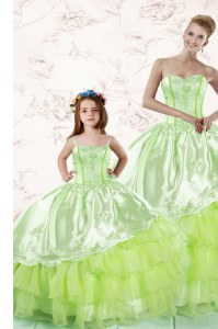Affordable Yellow Green Lace Up Quinceanera Gowns Embroidery and Ruffled Layers Sleeveless Floor Length