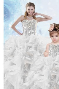 On Sale Organza Sweetheart Sleeveless Lace Up Beading and Ruffles and Sequins Quince Ball Gowns in Silver
