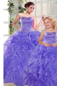 Lavender Sleeveless Organza Lace Up Quinceanera Dress for Military Ball and Sweet 16 and Quinceanera