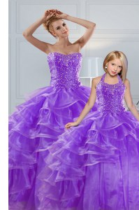 Decent Sweetheart Sleeveless Quinceanera Dress Floor Length Beading and Ruffled Layers Lavender Organza