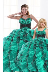 Hot Selling Floor Length Turquoise Sweet 16 Quinceanera Dress Organza Sleeveless Beading and Appliques and Ruffles