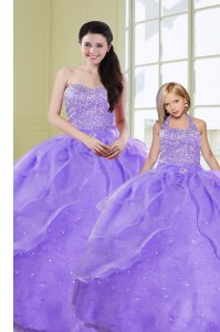 Stylish Floor Length Ball Gowns Sleeveless Lavender Quinceanera Gown Lace Up