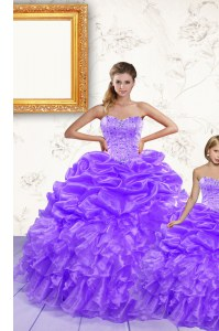 Simple Floor Length Lavender Quince Ball Gowns Organza Sleeveless Beading and Ruffles and Pick Ups