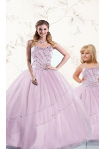 Superior Sleeveless Tulle Floor Length Lace Up Quinceanera Gowns in Lilac with Beading