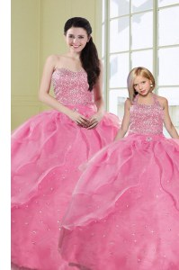 Customized Rose Pink Organza Lace Up Ball Gown Prom Dress Sleeveless Floor Length Beading and Sequins