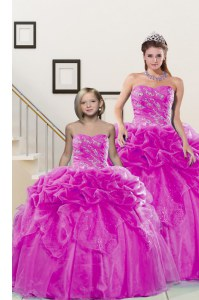 Sumptuous Fuchsia Sleeveless Floor Length Beading and Pick Ups Lace Up Quince Ball Gowns