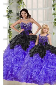 Smart Black And Purple Sweetheart Lace Up Beading and Ruffles Vestidos de Quinceanera Sleeveless
