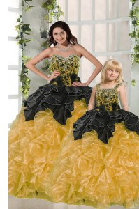 Yellow Organza Lace Up Vestidos de Quinceanera Sleeveless Floor Length Beading and Ruffles