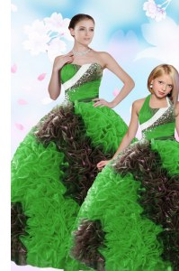 Designer Sleeveless Sequins and Pick Ups Lace Up 15 Quinceanera Dress