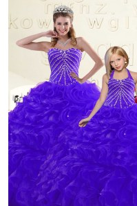 Comfortable Blue and Purple Sleeveless Organza Lace Up 15th Birthday Dress for Military Ball and Sweet 16 and Quinceanera