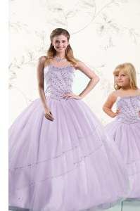 Lavender Tulle Lace Up 15th Birthday Dress Sleeveless Floor Length Beading