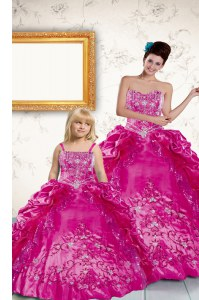 Pick Ups Fuchsia Sleeveless Taffeta Lace Up Sweet 16 Quinceanera Dress for Military Ball and Sweet 16 and Quinceanera