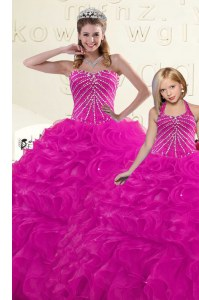Beading and Ruffles Quinceanera Gown Fuchsia Lace Up Sleeveless Floor Length