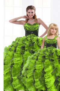 Romantic Olive Green Lace Up Sweet 16 Quinceanera Dress Beading and Appliques and Ruffles Sleeveless Floor Length