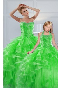 Superior Organza Sweetheart Sleeveless Lace Up Beading and Ruffled Layers Sweet 16 Dress in
