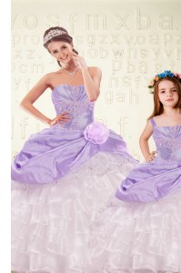 Organza and Taffeta Sleeveless Floor Length Sweet 16 Quinceanera Dress and Beading and Ruffled Layers and Hand Made Flower