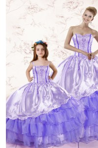 Best Ruffled Sweetheart Sleeveless Lace Up Quince Ball Gowns Lavender Organza