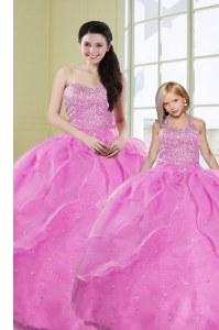 Customized Lilac Organza Lace Up Sweetheart Sleeveless Floor Length 15 Quinceanera Dress Beading and Sequins
