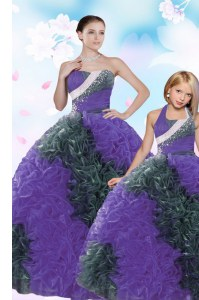 Multi-color Taffeta Lace Up Quinceanera Gown Sleeveless Floor Length Sequins and Pick Ups