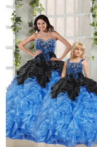 Black and Blue Sleeveless Organza Lace Up Quinceanera Dresses for Military Ball and Sweet 16 and Quinceanera