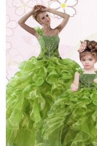 Green Ball Gowns One Shoulder Sleeveless Organza Floor Length Lace Up Beading and Ruffles Quince Ball Gowns
