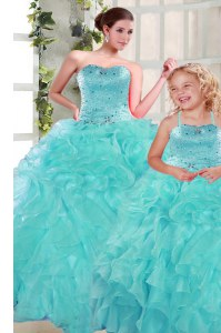 Turquoise Sweet 16 Quinceanera Dress Military Ball and Sweet 16 and Quinceanera and For with Beading and Ruffles Sweetheart Sleeveless Lace Up
