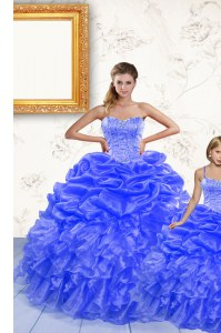 Spaghetti Straps Sleeveless Organza Quinceanera Gown Beading and Ruffles and Pick Ups Lace Up