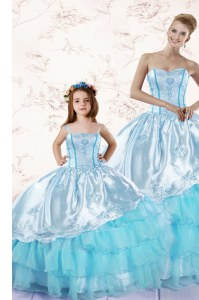 Baby Blue Organza Zipper Sweetheart Sleeveless Floor Length Quince Ball Gowns Embroidery and Ruffled Layers