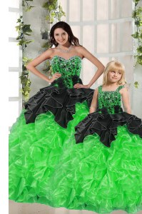 Deluxe Sleeveless Floor Length Beading and Ruffles Lace Up Vestidos de Quinceanera with